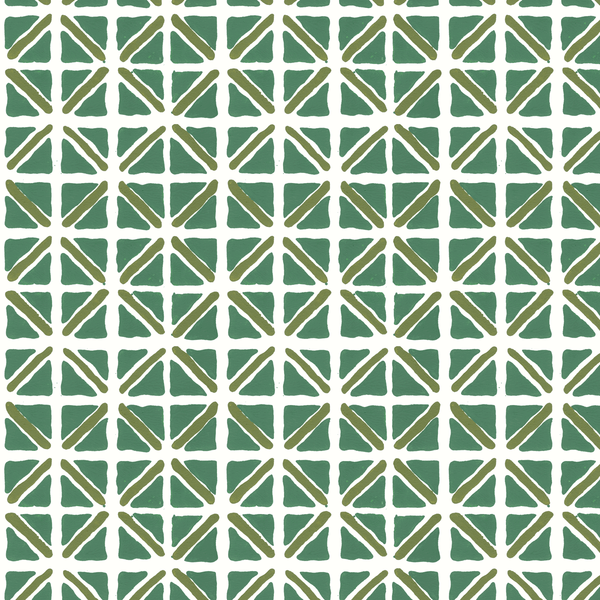 On Track in Jade (teal green) | Hand-block printed wallpaper by Sarah & Ruby | www.sarahrubydesign.com