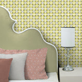 On Track in Citron | Hand-block printed wallpaper by Sarah & Ruby | www.sarahrubydesign.com