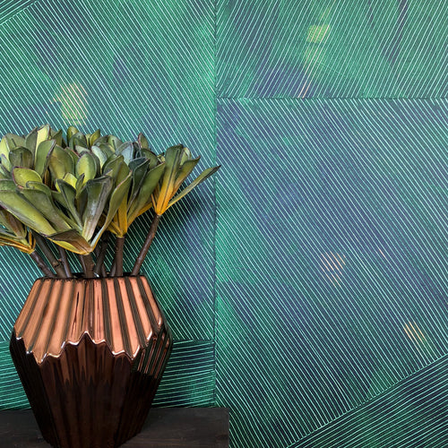 "Hand-Painted Single Sheet Wallpaper | Lanai in Jungle (green), 22""x30"" 