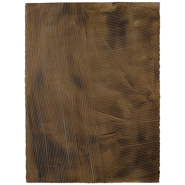 "Handpainted Single Sheet Wallcovering | Lanai in Tobacco (brown), 22""x30"" 