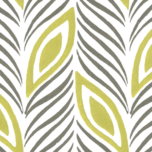Strut Your Stuff in Citron | Hand-painted wallpaper by Sarah & Ruby | www.sarahrubydesign.com