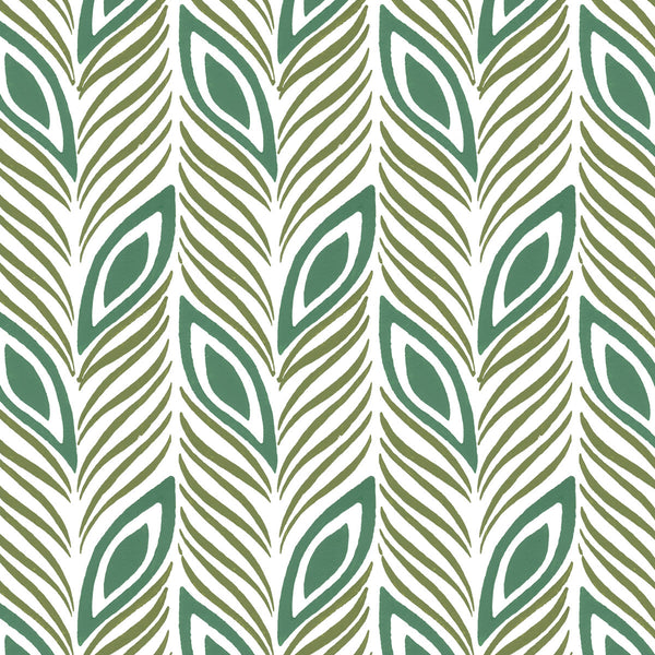 Strut Your Stuff in Jade (teal green) | Hand print wallpaper by Sarah & Ruby | www.sarahrubydesign.com