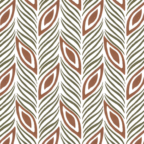 Strut Your Stuff in Ginger (rust brown) | Hand painted wallpaper by Sarah & Ruby | www.sarahrubydesign.com
