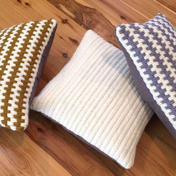 Artisan made hand-stitched textured pillows. Wool and linen.