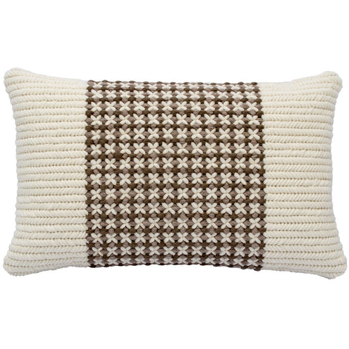 "Textured Soft Brown Trellis handmade throw pillow. Hand stitched by artisans in California. 12""x20"""