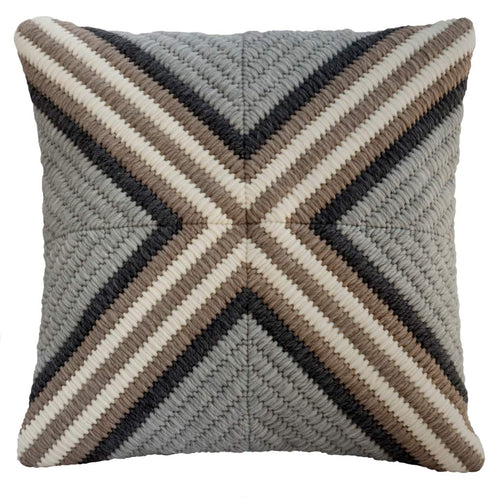 "Handmade Gray Cross textured throw pillow. 20""x20"""