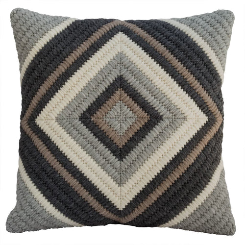 "Gray Diamond handmade textured throw pillow. 20""x20"""