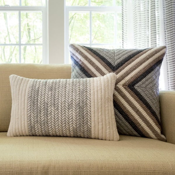 "Textured Heathered Gray throw pillow and Textured Gray Cross throw pillow. 12""x20"" and 20""x20"""