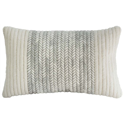 "Textured handmade heathered gray and cream lumbar throw pillow. 12""x20"""