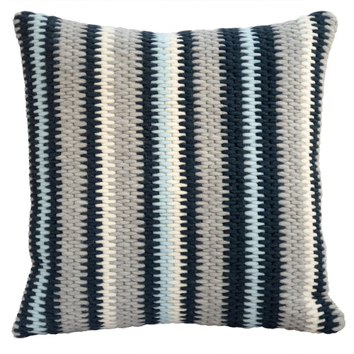 "Textured navy blue and gray stripe handmade needlepoint throw pillow. 20""x20"""