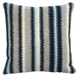 Textured navy blue and gray stripe handmade needlepoint throw pillow. 20