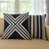 Navy blue cross textured pillow and navy blue stripe textured pillow. Each 20