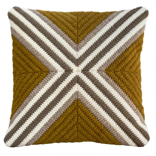 "Textured modern needlepoint throw pillow in ochre (gold) cross pattern. Hand made. 20""x20"""