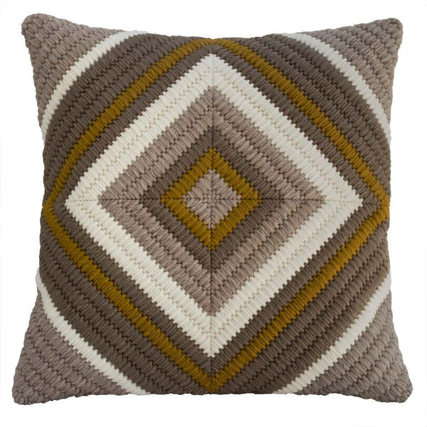 "Hand stitched throw pillow in Diamond pattern. Cream, Soft Brown, Ochre. 20""x20""."