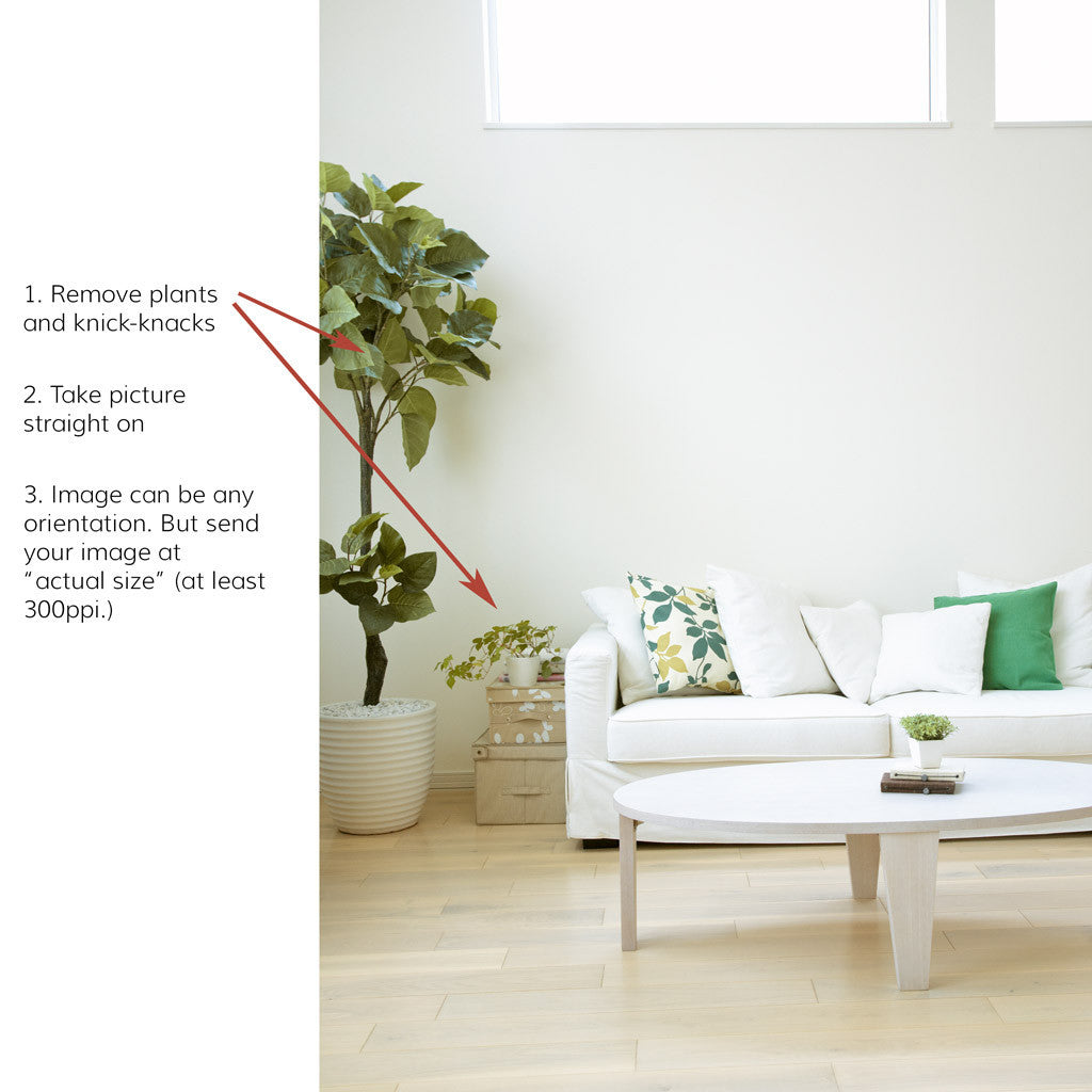 To help you visualize our hand block printed wallpaper in your room, follow these instructions and send us a picture.