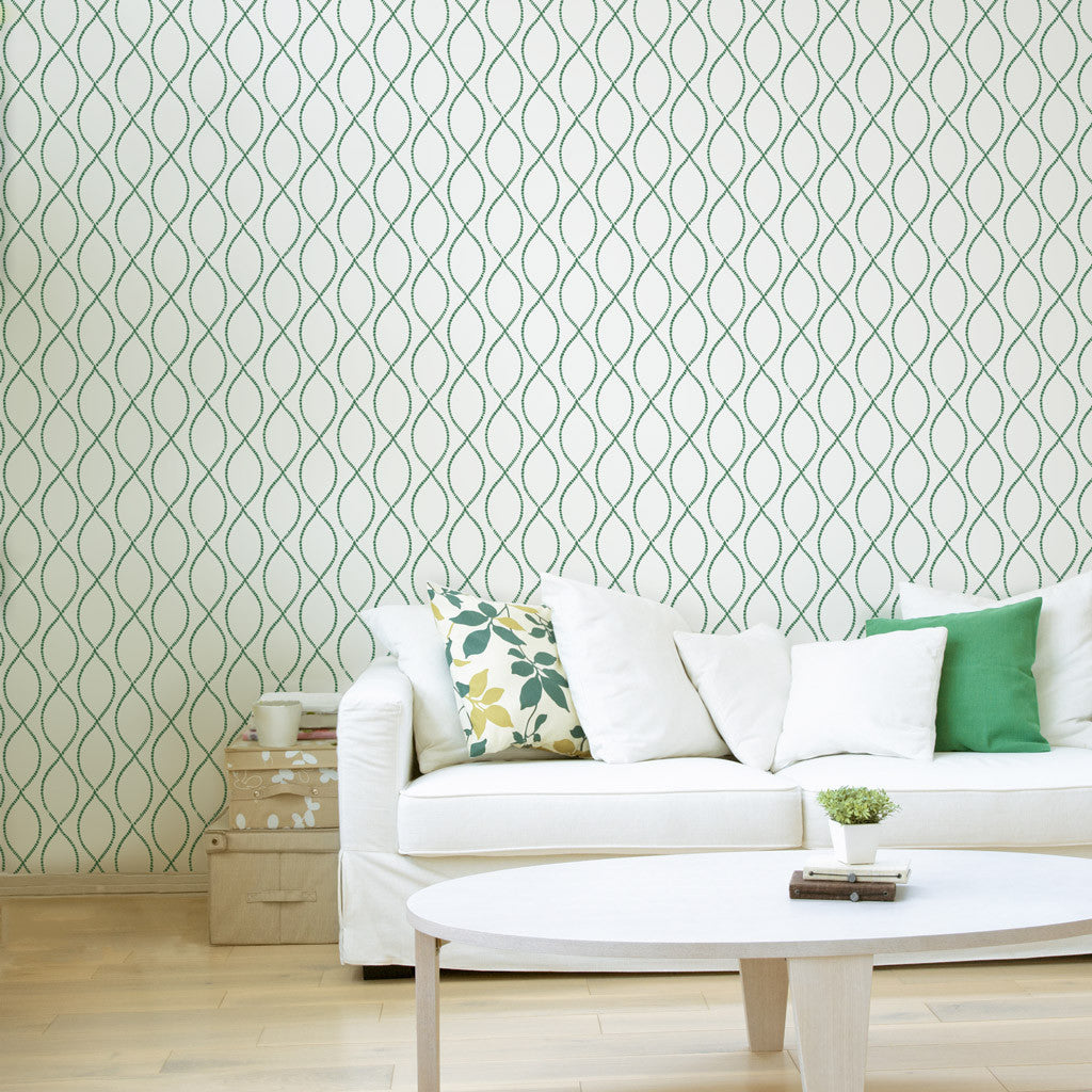 We can help you visualize our hand-printed wallpaper in your room.