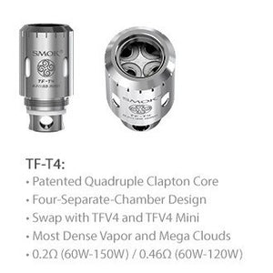 SMOK TFV4 TF-T4 Quadruple Clapton Core, coils, SMOK, Dragon Vape Shop