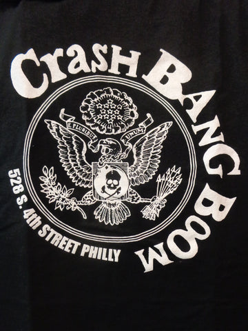 Crash Bang Boom black tee with Ramones like presidential seal logo printed in white