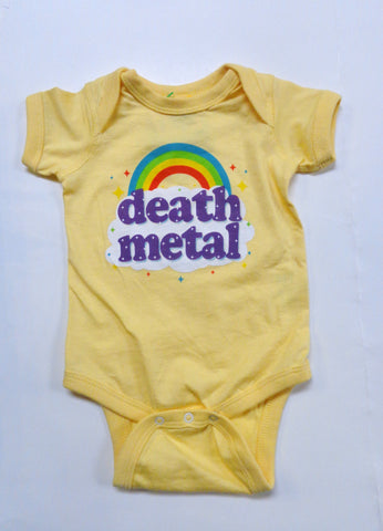 Death Metal yellow onesie with rainbow and death metal print