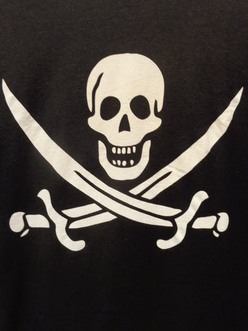 Jolly Roger mens black tee tshirt with skull and cross swords white print