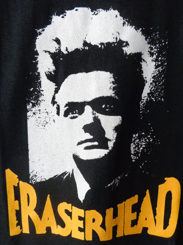 Eraserhead shirt with main characters head, Henry depicted on black shirt says Eraserhead