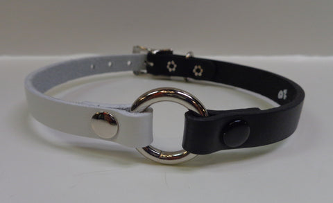 black and white leather choker with 1 inch o ring