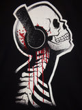 Akumu Ink Tone Deaf mens tee bloody skeleton with headphones