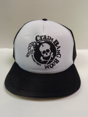 Crash Bang Boom Philly black and white trucker hat with Crash Bang Boom branding