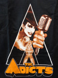 Adicts black tee with Monkey the singer with microphone in a clockwork orange style triangle