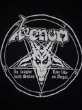 Venom In League With Satan black tee with pentagram and baphomet