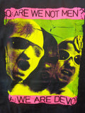 Devo Are We Not Men tee neon print with bands faces