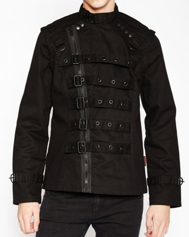 Tripp mens black zip off bondage jacket vest buckles