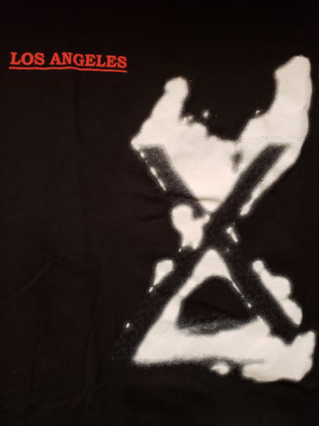 X Los Angeles black tee double sided with songs and lyrics printed on back