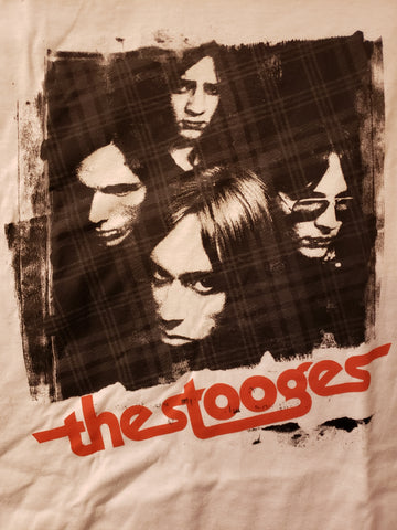 The Stooges band white tee with group shot and logo