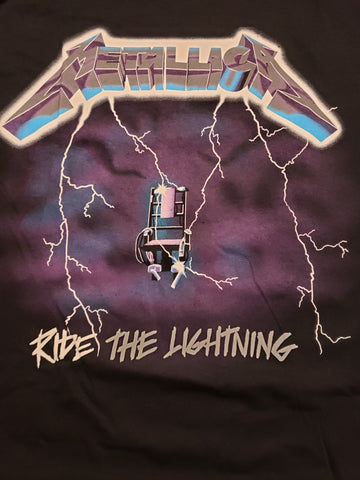 Metallica Ride the Lightning black tee with lightning bolts