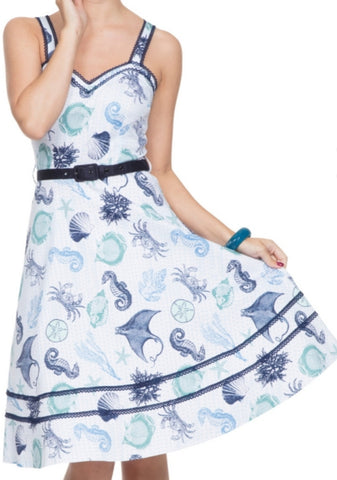 Blue Sea creatures printed on a white flared dress vintage style