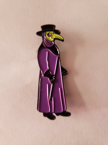 plague doctor enamel pin purple robe