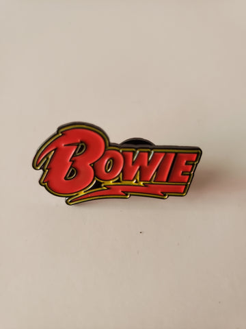 Bowie logo with lightning bolts red enamel pin