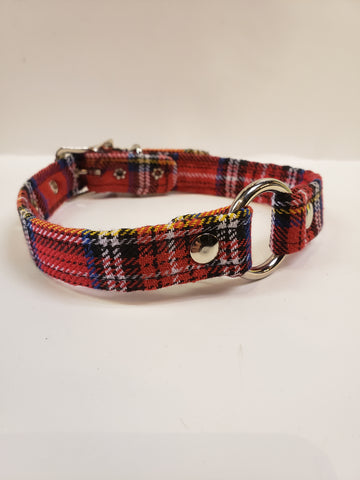 Red plaid o ring collar