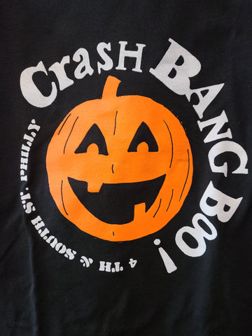 CRASH BANG BOO black tee with orange jackolantern