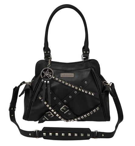 Black vegan leather handbag with straps, studs, eyelets and buckles and pentagram ring