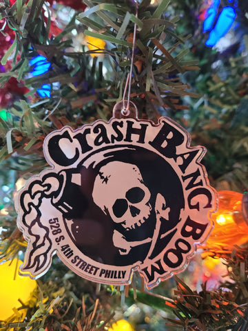Crash Bang Boom Skull Bomb acrylic ornament