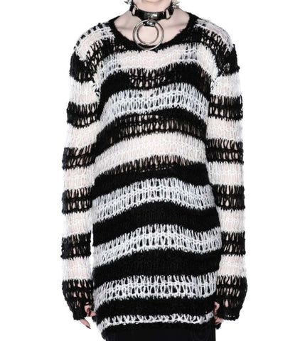 white and black faux mohair knit sweater relaxed fit