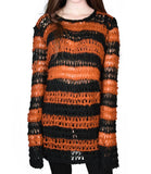 orange and black faux mohair knit sweater relaxed fit