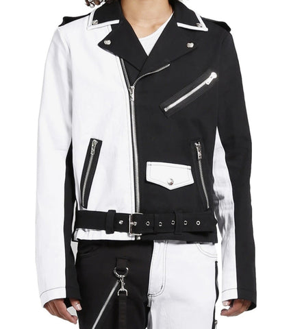 black and white split moto jacket wtih zippered pockets and snap pocket  belted