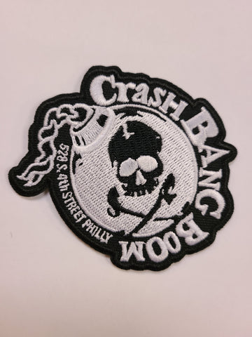 Crash Bang Boom black and white embroidered skull bomb patch