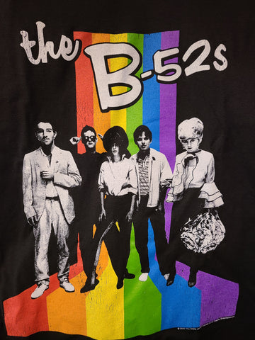 B52s band with rainbow color stripes black tee