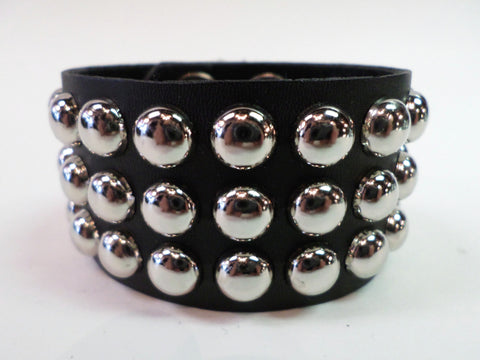 Leather Studded Bracelet Round Studs