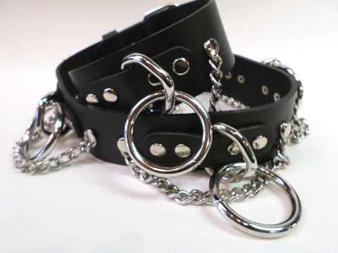 Leather Bondage Belt with Rings and Chains