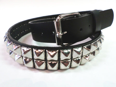 black leather 2 row pyramid stud belt with detachable buckle